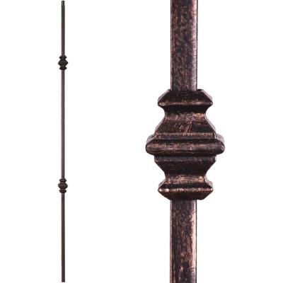 Versatile 44 in. x 0.5 in. Oil Rubbed Bronze Double Knuckle Hollow Wrought Iron Baluster
