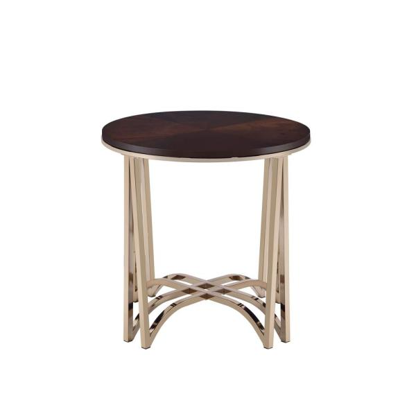 Acme Furniture Novus Walnut and Champagne End Table 80992