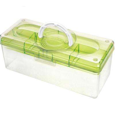 13.8 in. x 6 in. Hobby and Crafts Portable Storage Box with Removable Top Organizer Tray in Green