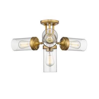 Lopia 4-Light Foundry Brass Semi-Flush Mount with Clear Shade