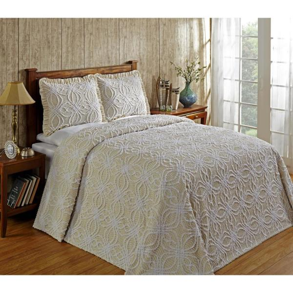 Better Trends Rosa 120 in. x 110 in. Natural King Bedspread