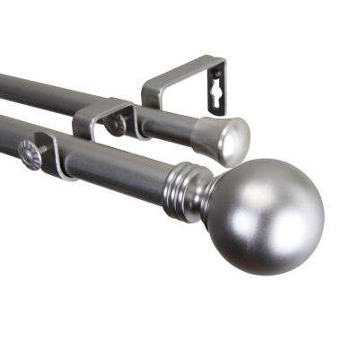 160 in. - 240 in. 1 in. Globe Double Curtain Rod Set in Satin Nickel