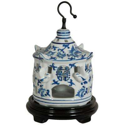 Oriental Furniture 11 in. Floral Blue and White Porcelain Bird Cage