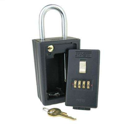 4-Alpha Combination Key Storage Lockbox with Key-Locking Shackle in Black