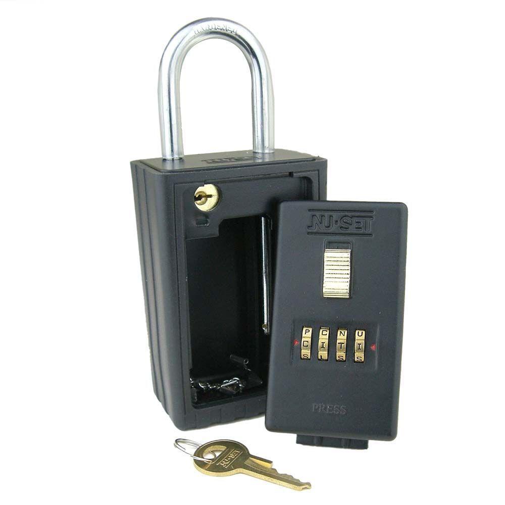 4-Alpha Combination Key Storage Lockbox with Key-Locking Shackle in Black
