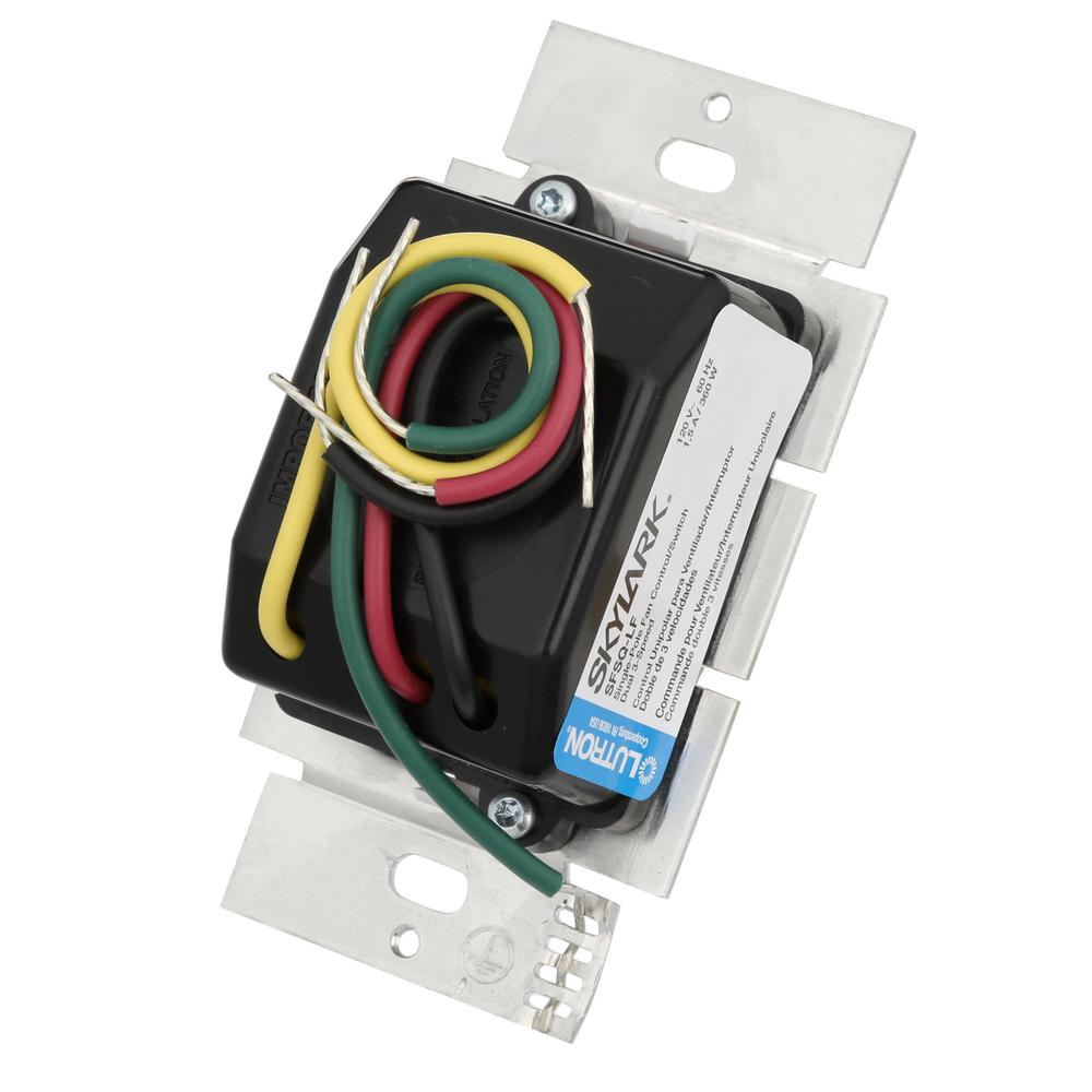 Lutron Skylark SFSQ-LF-WH Ceiling Fan Speed Dimmer Light Switch Control WHITE