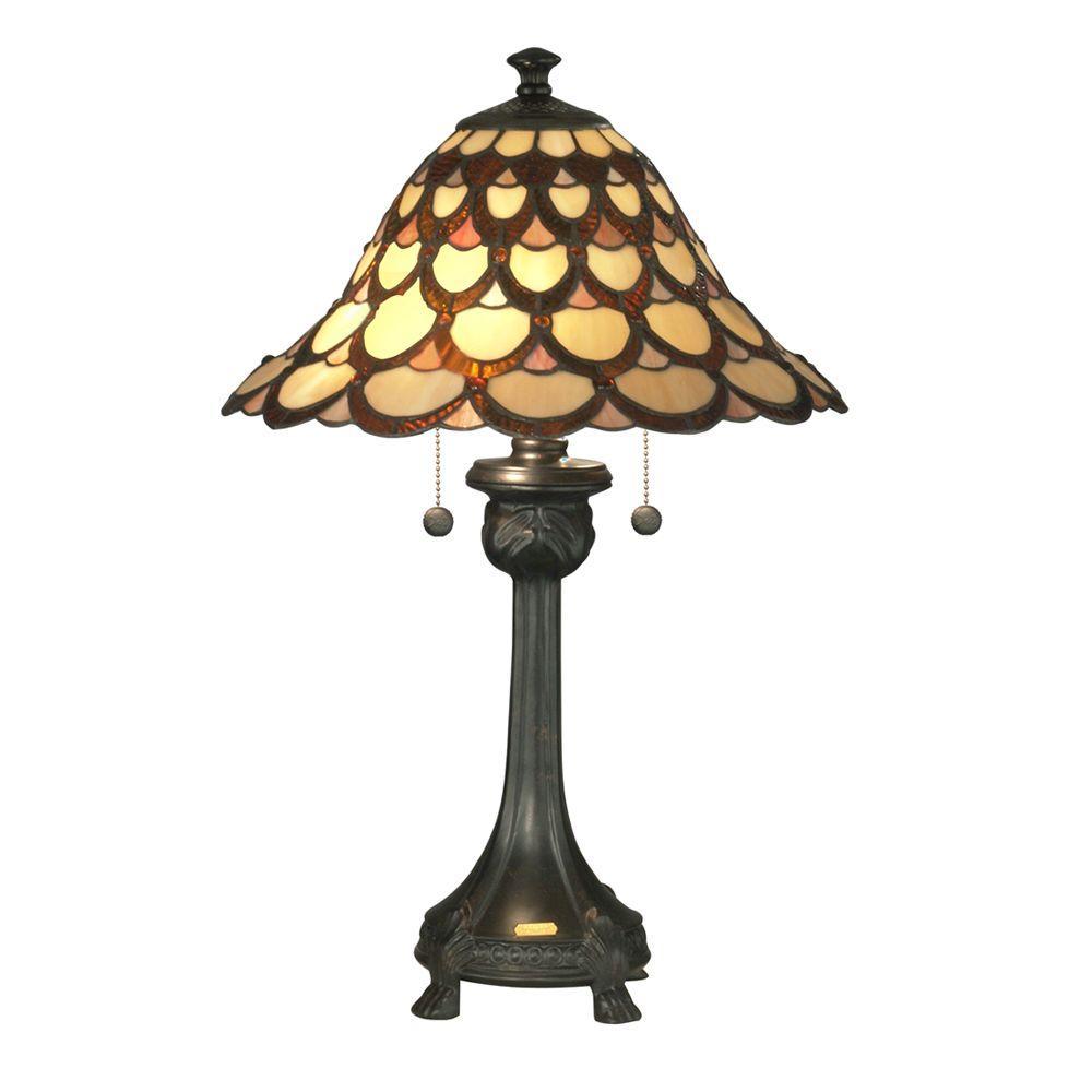 Dale Tiffany Peacock 24.5 in. Antique Bronze Fieldstone Table Lamp