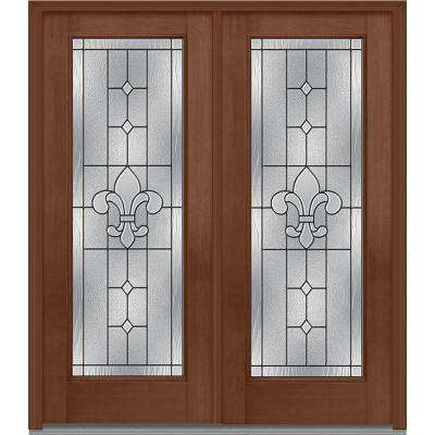 64 in. x 80 in. Carrollton Left-Hand Inswing Full Lite Decorative Glass Stained Fiberglass Mahogany Prehung Front Door
