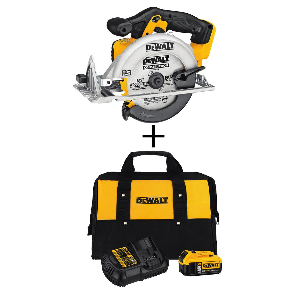 20-Volt Max Lithium-Ion 6-1/2 in. Cordless Circular Saw with Bonus 5.0