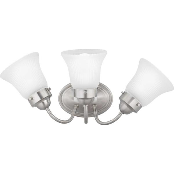 Fluted Glass Collection 3-Light Brushed Nickel Vanity Light