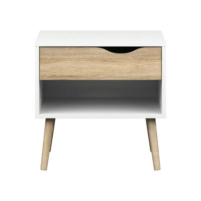 Diana 1-Drawer White/Oak Structure Nightstand