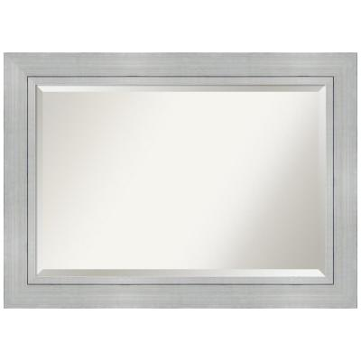 Romano 43 in. W x 31 in. H Framed Rectangular Beveled Edge Bathroom Vanity Mirror in Burnished Silver