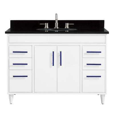 Layla 49 in. W x 22 in. D x 35 in. H Bath Vanity in White with Granite Vanity Top in Black with White with Basin