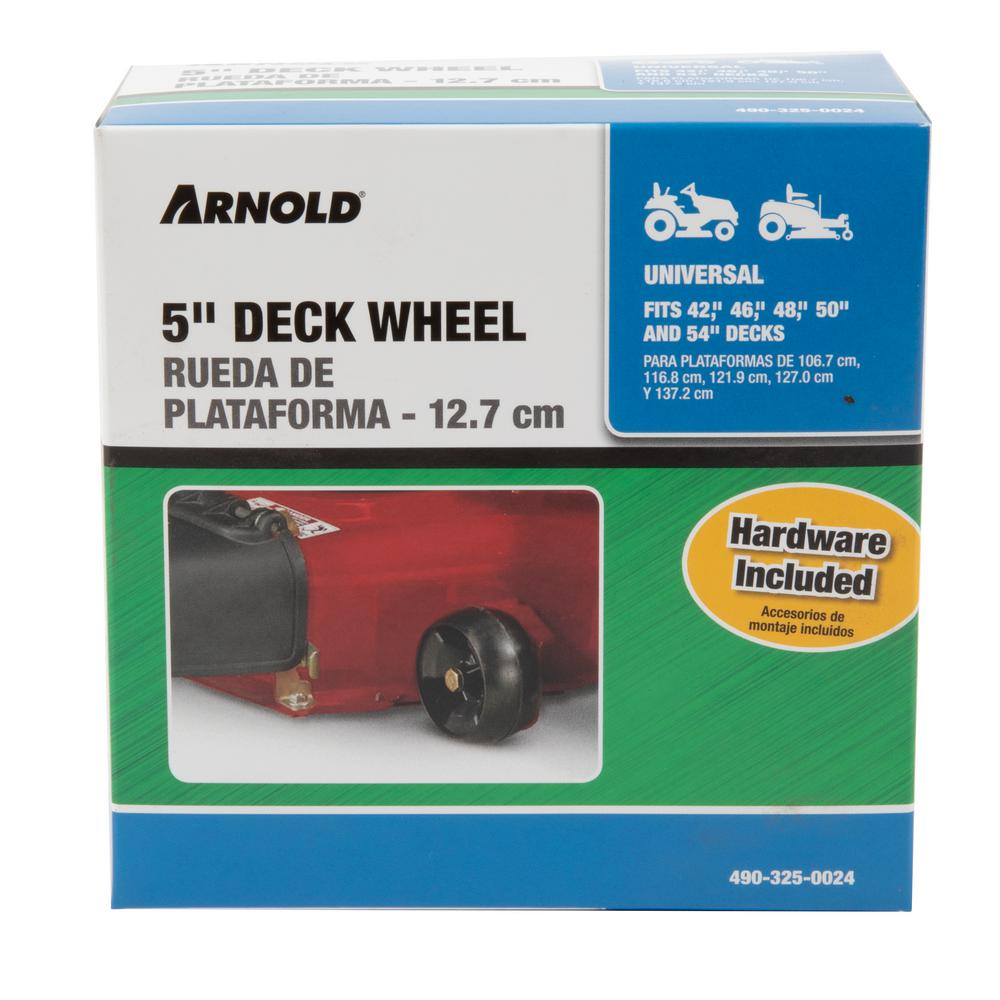 Arnold 5 in. Universal Deck Wheel  for Riding Lawn Mowers and Zero Turn Mowers with Hardware Included