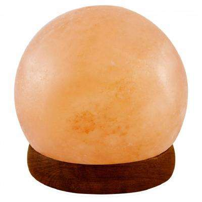 Himalayan Crystal Rock Salt USB Lamp 3.5 in. Pink Ball Shape with Multi-Color LED Light and Wood Base