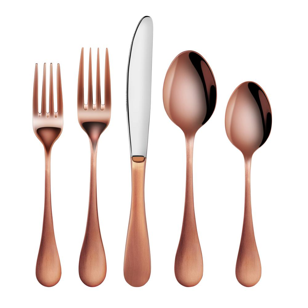 Rain 18/10 Stainless Steel Flatware 20-Piece Set, Antique Copper Finished,