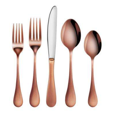 Rain 18/10 Stainless Steel Flatware 20-Piece Set, Antique Copper Finished, Service for 4