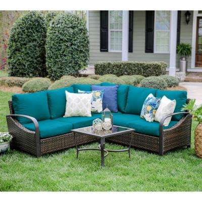 Trenton 4-Piece Wicker Outdoor Sectional Set with Peacock Cushions