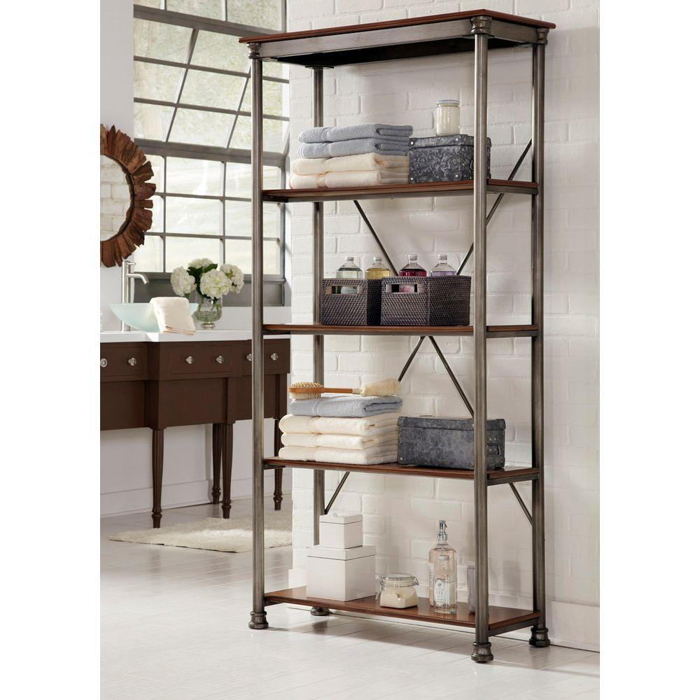 home styles five shelf 38 in w x 76 in h x 16 in d. Black Bedroom Furniture Sets. Home Design Ideas
