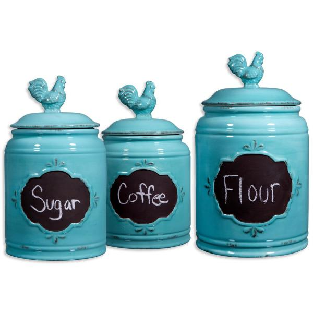 Home Essentials Beyond Aqua Ceramic Chalkboard Canisters