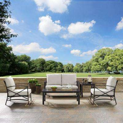 Kaplan 5-Piece Metal Outdoor Seating Set with Oatmeal Cushion - Loveseat, 2 Chairs, Coffee Table, Side Table
