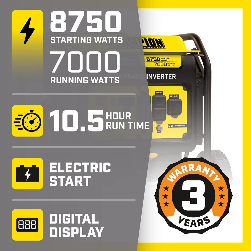DH 8750-Watt Electric Start Gasoline Powered Open Frame Inverter Generator with 420 cc Engine