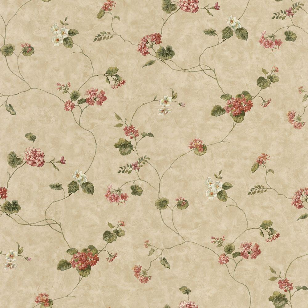 The Wallpaper Company 56 sq. ft. Green and Red Geranium Trail Wallpaper
