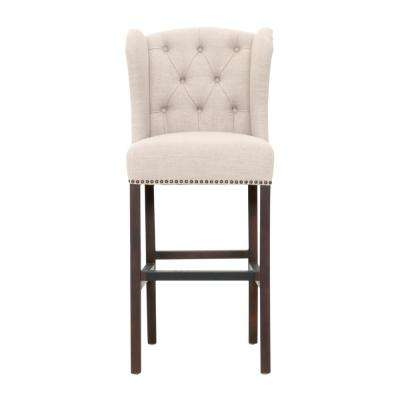 Madelyn 31.25 in. Tan Cushioned Bar Stool in Espresso