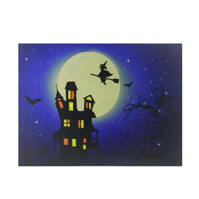 12 in. x 15.75 in. Fiber Optic and LED Lighted Witch in the Moon Halloween Canvas Wall Art