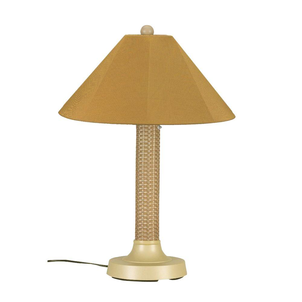 Patio Living Concepts Bahama Weave 34 in. Mojavi Outdoor Table Lamp with Brass Shade