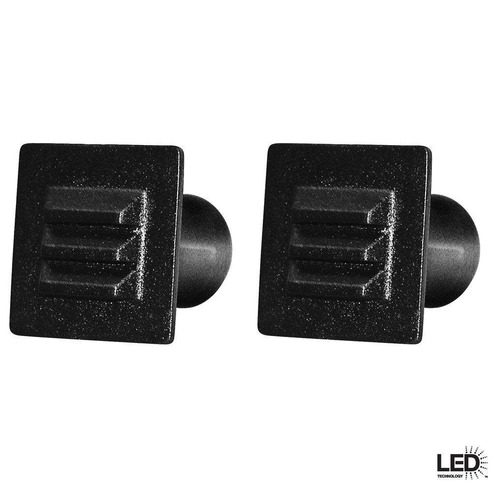 Hampton Bay Low-Voltage Black Integrated LED Square Deck Light (2-Pack)