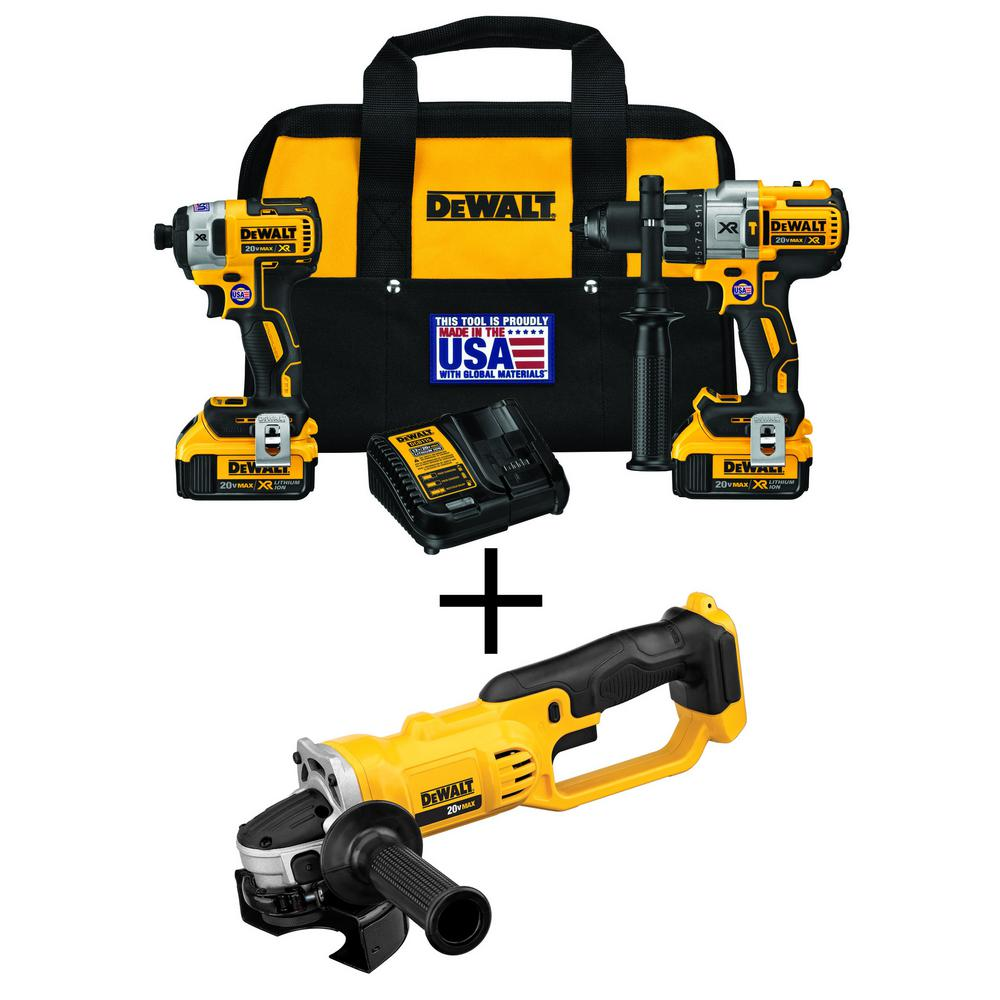 DEWALT 20-Volt MAX XR Lithium-Ion Cordless Brushless Hammer Drill/Impact Combo Kit (2-Tool) with Bonus Bare 4-1/2 in. Grinder