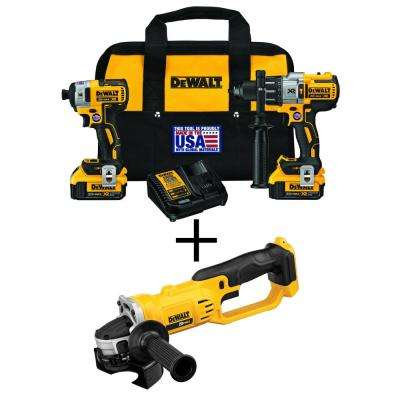 20-Volt MAX XR Lithium-Ion Cordless Brushless Hammer Drill/Impact Combo Kit (2-Tool) with Bonus Bare 4-1/2 in. Grinder
