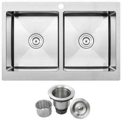 Bradford Drop-in 16-Gauge Stainless Steel 33 in. 1-Hole Double Basin Kitchen Sink with Basket Strainer
