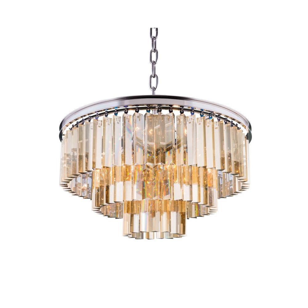 Sydney 9-Light Polished Nickel Chandelier with Golden Teak Smoky Crystal