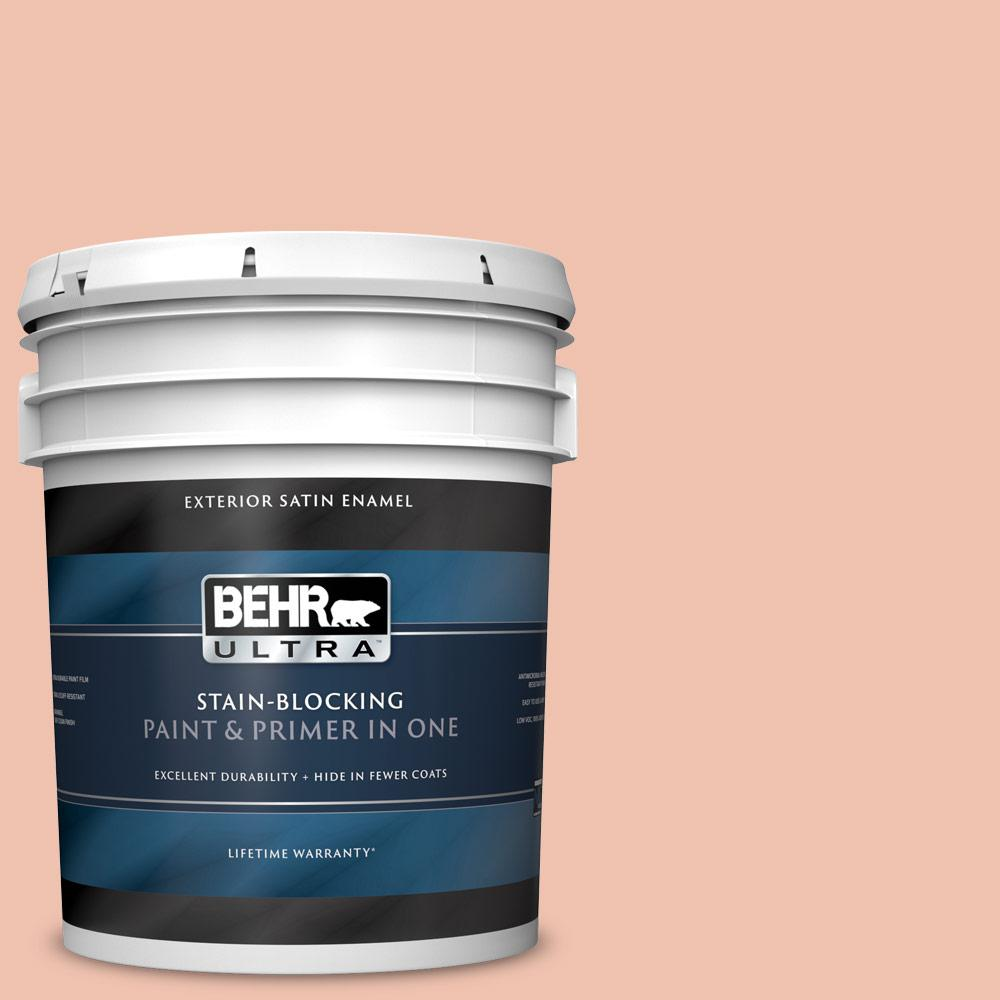 Behr Ultra 5 Gal M180 3 Flamingo Feather Satin Enamel Exterior Paint And Primer In One 985405 The Home Depot
