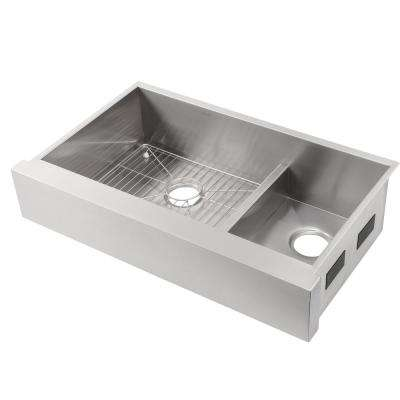 Vault Smart Divide Undermount Stainless Steel 36 in. Double Bowl Kitchen Sink Kit