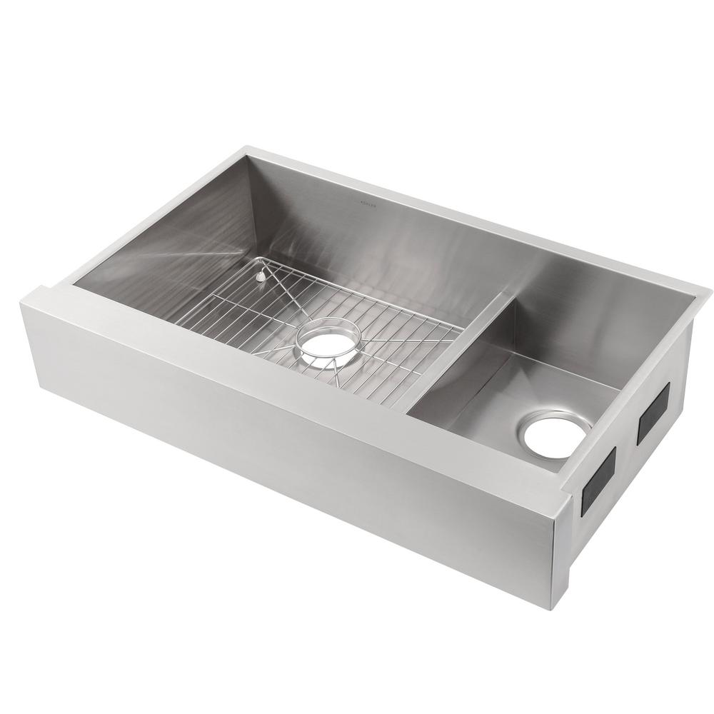 KOHLER Vault Farmhouse Apron Front Smart Divide Undermount Stainless Steel  36 in. Double Bowl Kitchen Sink Kit with Basin Rack