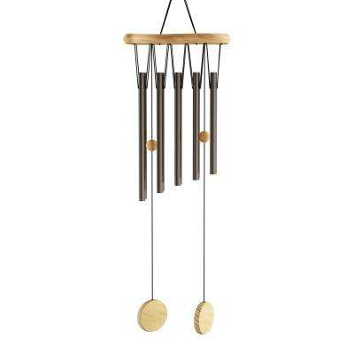34.5 in. Metal and Wood Wind Chime in Bronze