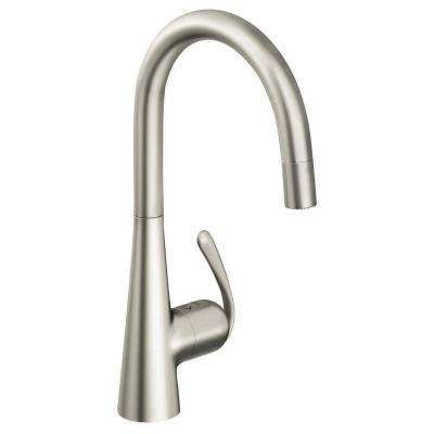 Ladylux 3 Pro Single-Handle Pull-Down Sprayer Kitchen Faucet in Super Steel