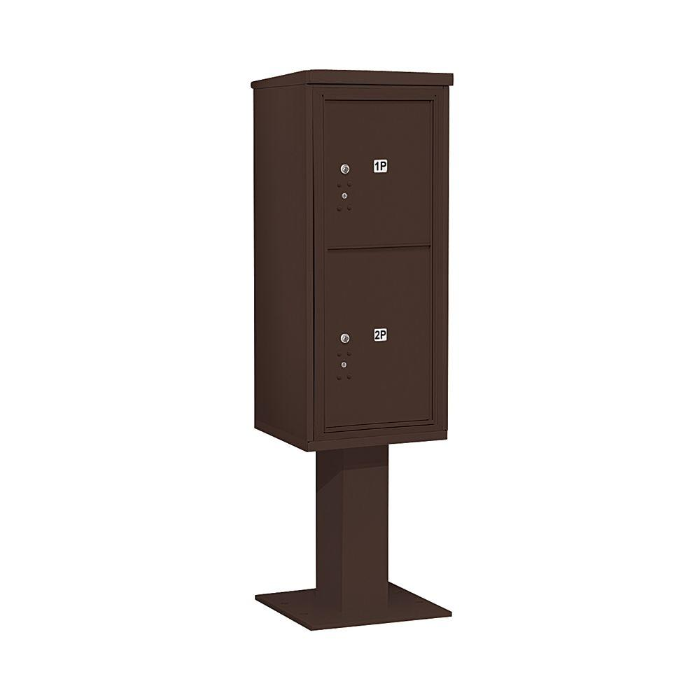 3400 Series Bronze Mount 4C Pedestal Mailbox with 2 PL5's Parcel