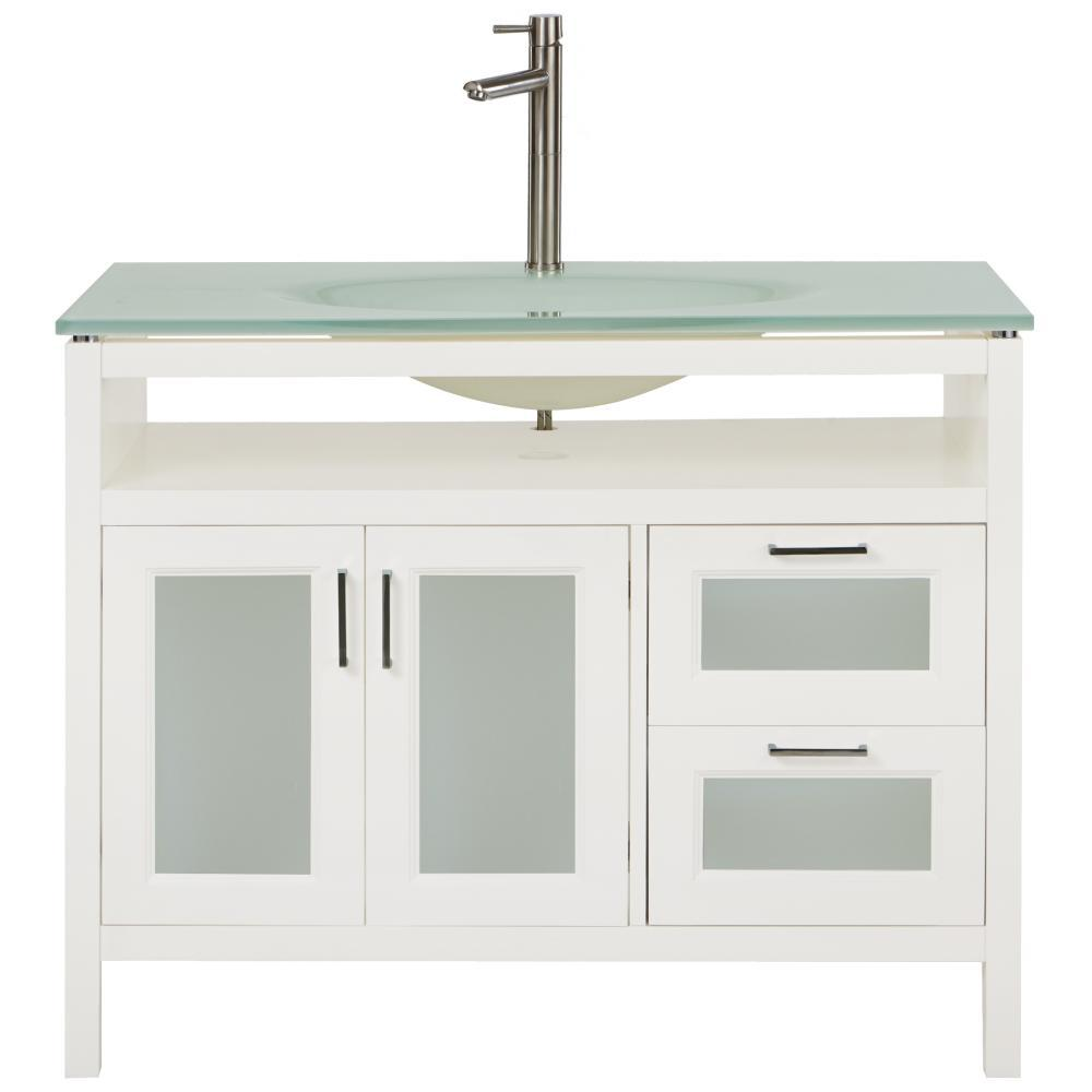 Home Decorators Collection Monica 43 in. W Vanity in White with Tempered Glass Vanity Top in Clear with Tempered Glass Sink
