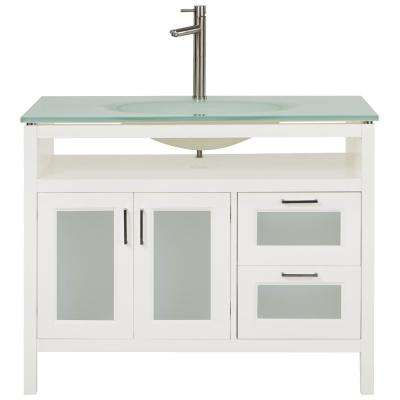 Monica 43 in. W Vanity in White with Marble Vanity Top in White with White Basin