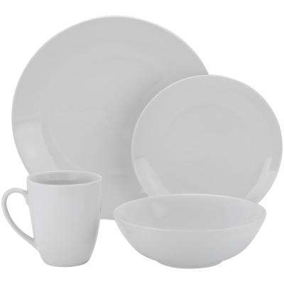 16-Piece Casual White Porcelain Dinnerware Set