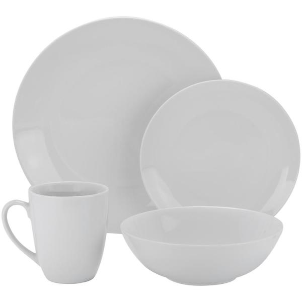 10 Strawberry Street 16-Piece White Coupe Dinnerware Set SM-1600-CP-W