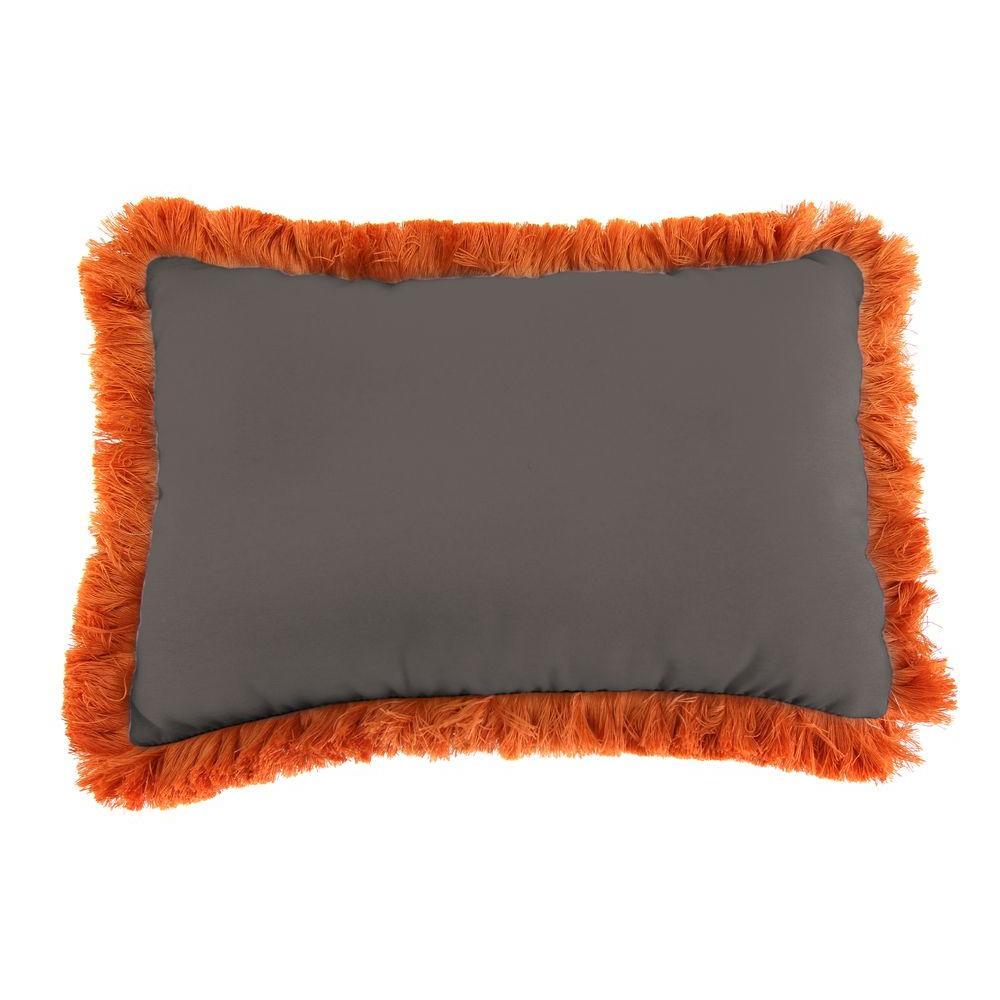 Sunbrella 19 in. x 12 in. Canvas Coal Outdoor Throw Pillow