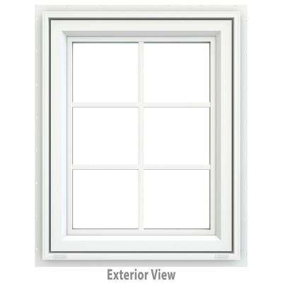 23.5 in. x 29.5 in. V-4500 Series White Vinyl Awning Window with Colonial Grids/Grilles