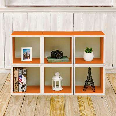 Barcelona 6-Cubes zBoard Stackable Modular Storage Cubby Organizer, Tool-Free Assembly Storage in Orange