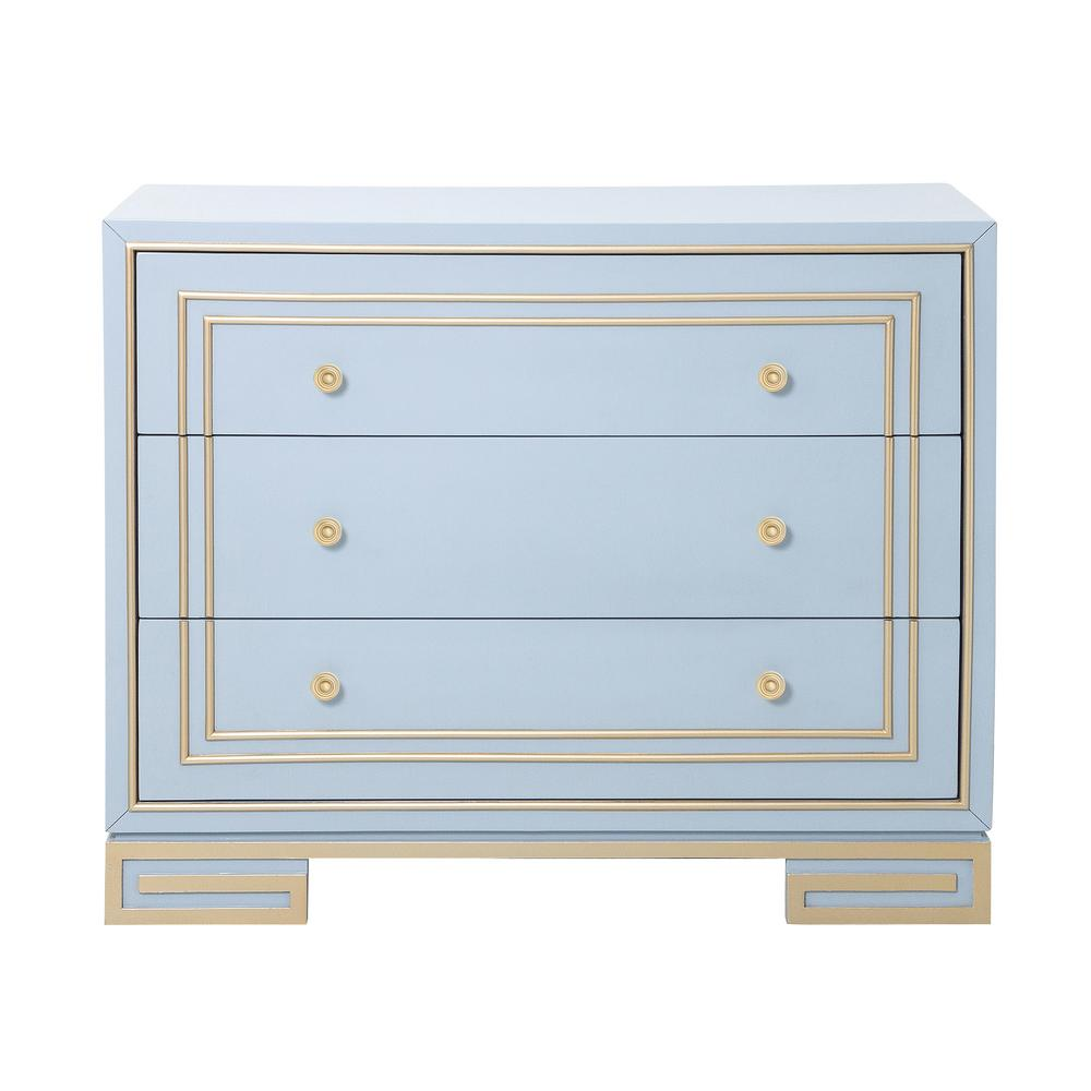 Modern Style Purple With Champagne Gold Overlay Accent Drawer Chest