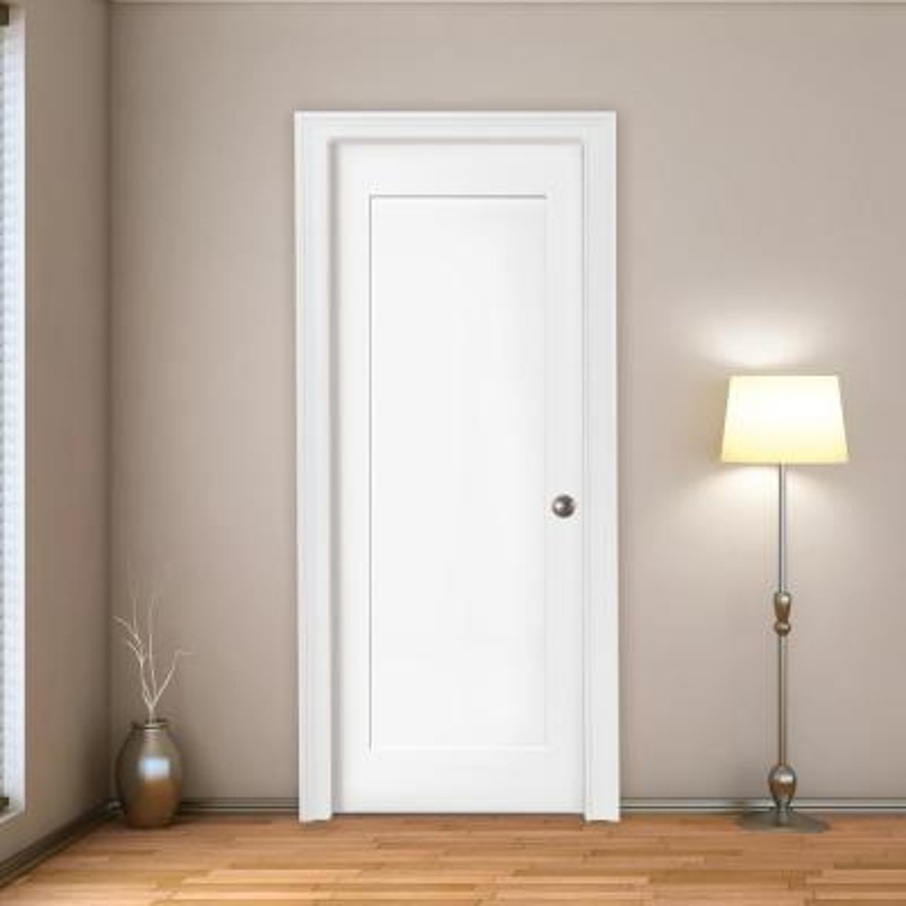 30 in. x 80 in. 1-Panel Shaker White Primed Left Hand Solid Core Wood Single Prehung Interior Door with Nickel Hinges
